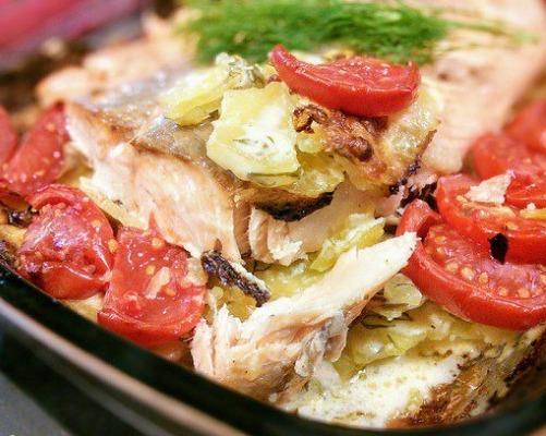 Картофельный гратен с лососем