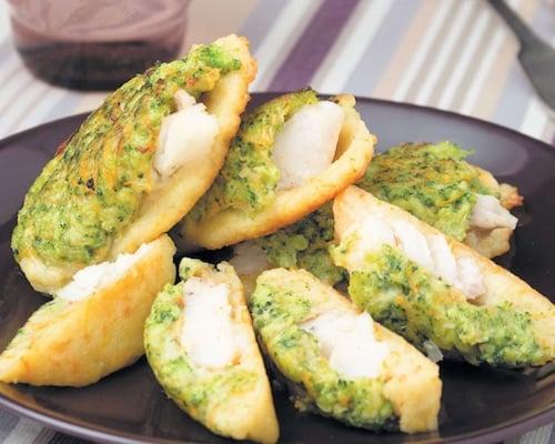 Овощные оладьи с рыбой